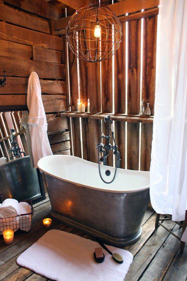 30 ideas de decoración para baños rústicos pequeños 30, Ideas and