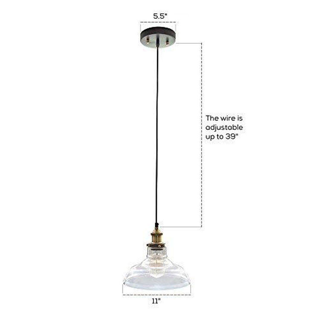 Glass Pendant Light with Vintage Edison Light Bulb - Vintage Light ...