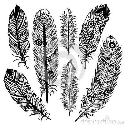 Ensemble De Plumes Ethniques Tatouage Tatouage Plume Et