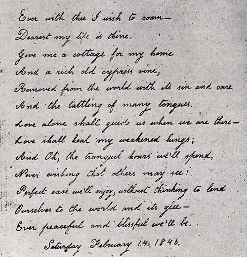 Written for Edgar Allan Poe by Virginia Clemm in 1846