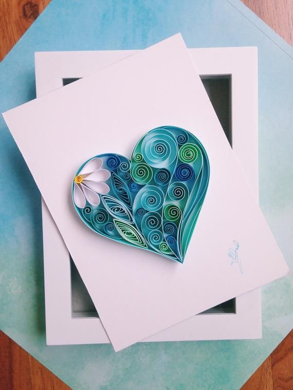 Photo of Quilled Paper Art 'Blue Heart'-Unique Valentine's Gift-Quilling Art-Blue Lover Gift-Love Gift-Gift for her-Gift for mom-Quilled Heart