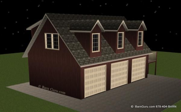 Workshop with living quarters three car garage with for Garage with living quarters one level