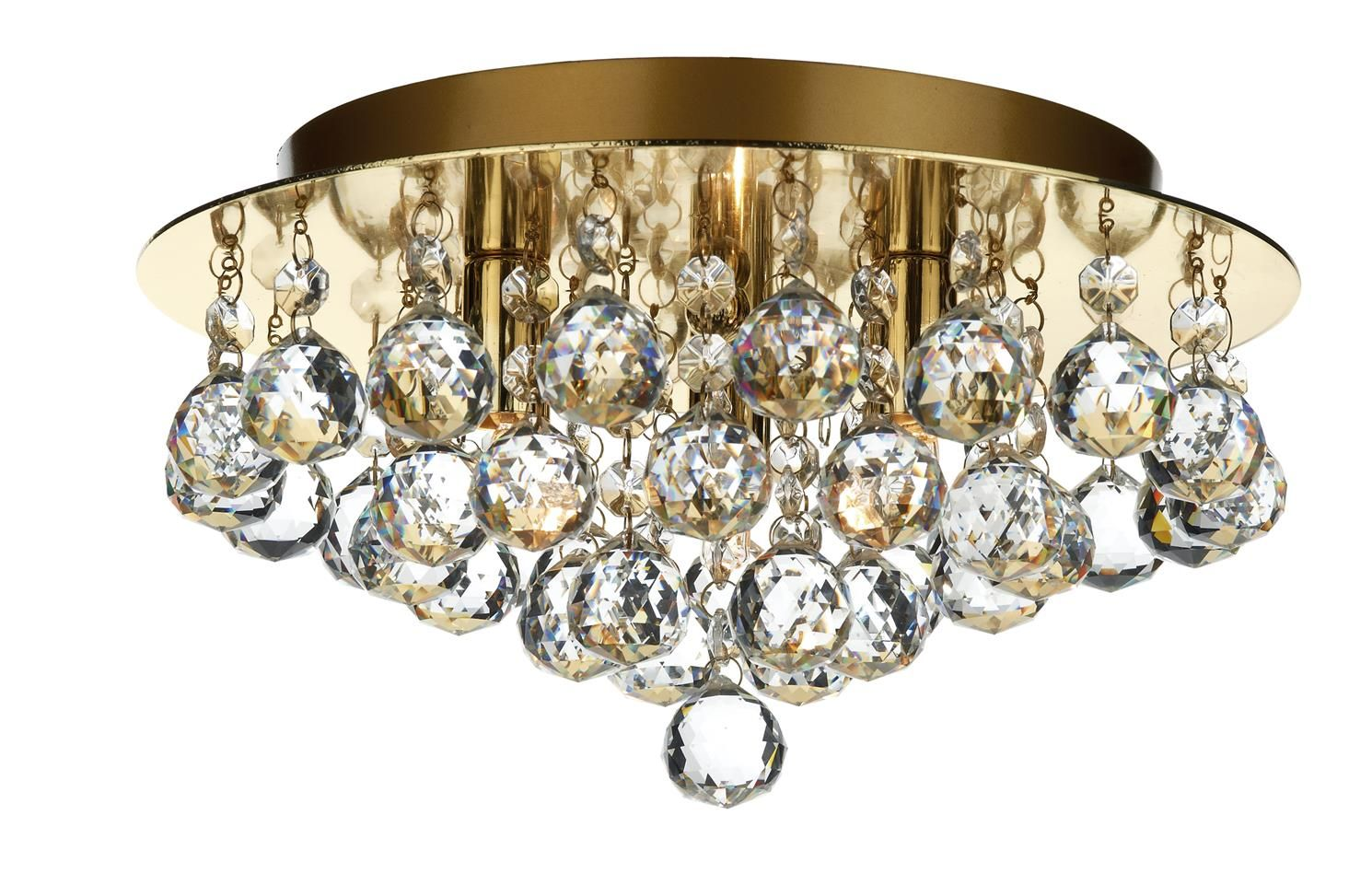 PLU5240 Pluto 3 Light Flush Fitting in Polished Brass Crystal Glass Decoration Fully Assembled Earthed 3 x 40w G9 Lamps included Height 16cm Diameter 29cm