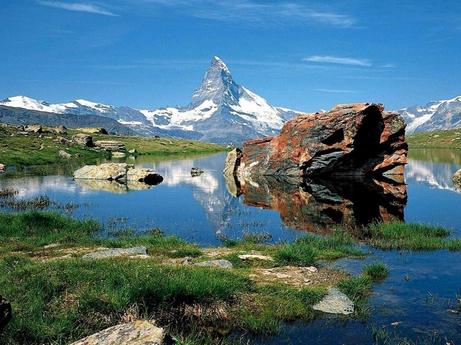 swiss alps | free matterhorn lake in swiss alps, computer desktop