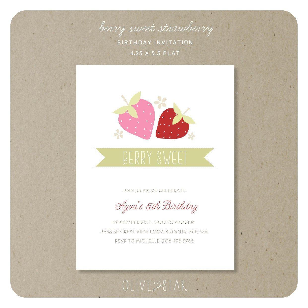 berry sweet strawberry: birthday invitation set. $16.50, via Etsy ...
