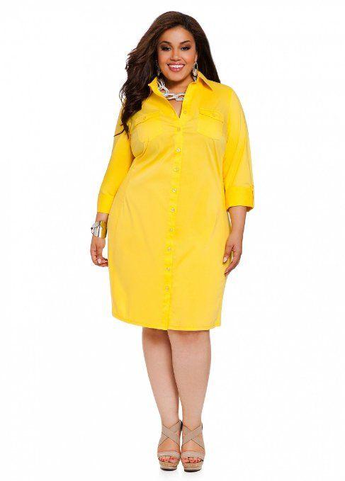 Amazon.com: Ashley Stewart Women\'s Plus Size Boyfriend Shirtdress ...