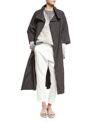 3/4-Sleeve+Belted+Anorak,+Long-Sleeve+Degrade+Pullover+Sweater+&+Paillette-Stripe+Cropped+Trousers+by+Brunello+Cucinelli+at+Neiman+Marcus.