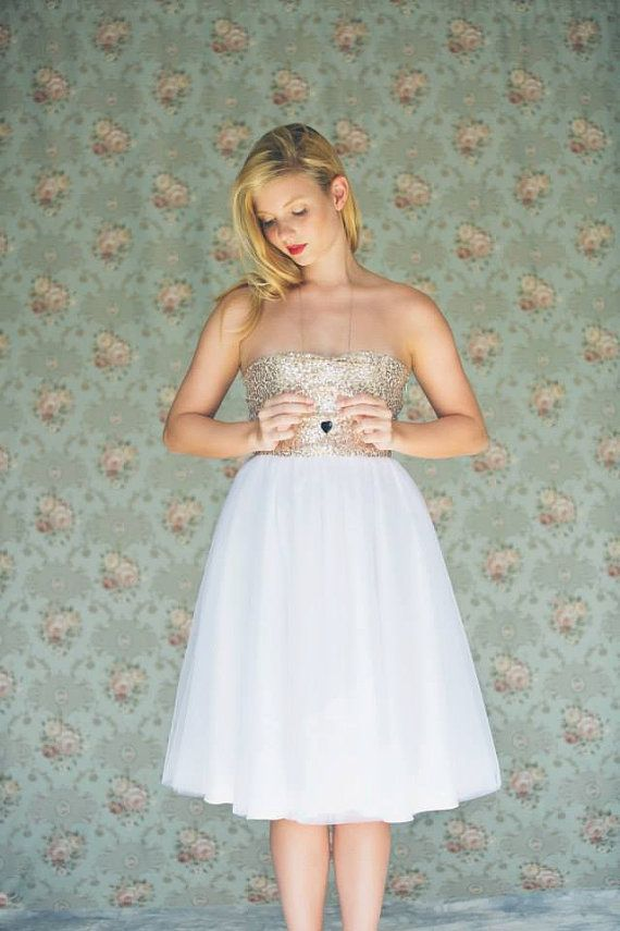 Gold Sequinned Short Wedding Dress White Tulle Wedding Dress