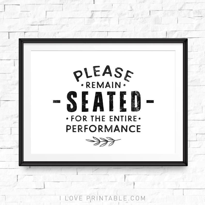 Photo of Funny bathroom sign, Please remain seated for the entire performance, Bathroom decor wall art, Kids bathroom decor, Bathroom decor gold