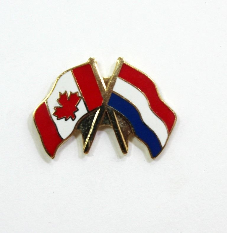 Canada And France Crossed Friendship Flag Lapel Pin