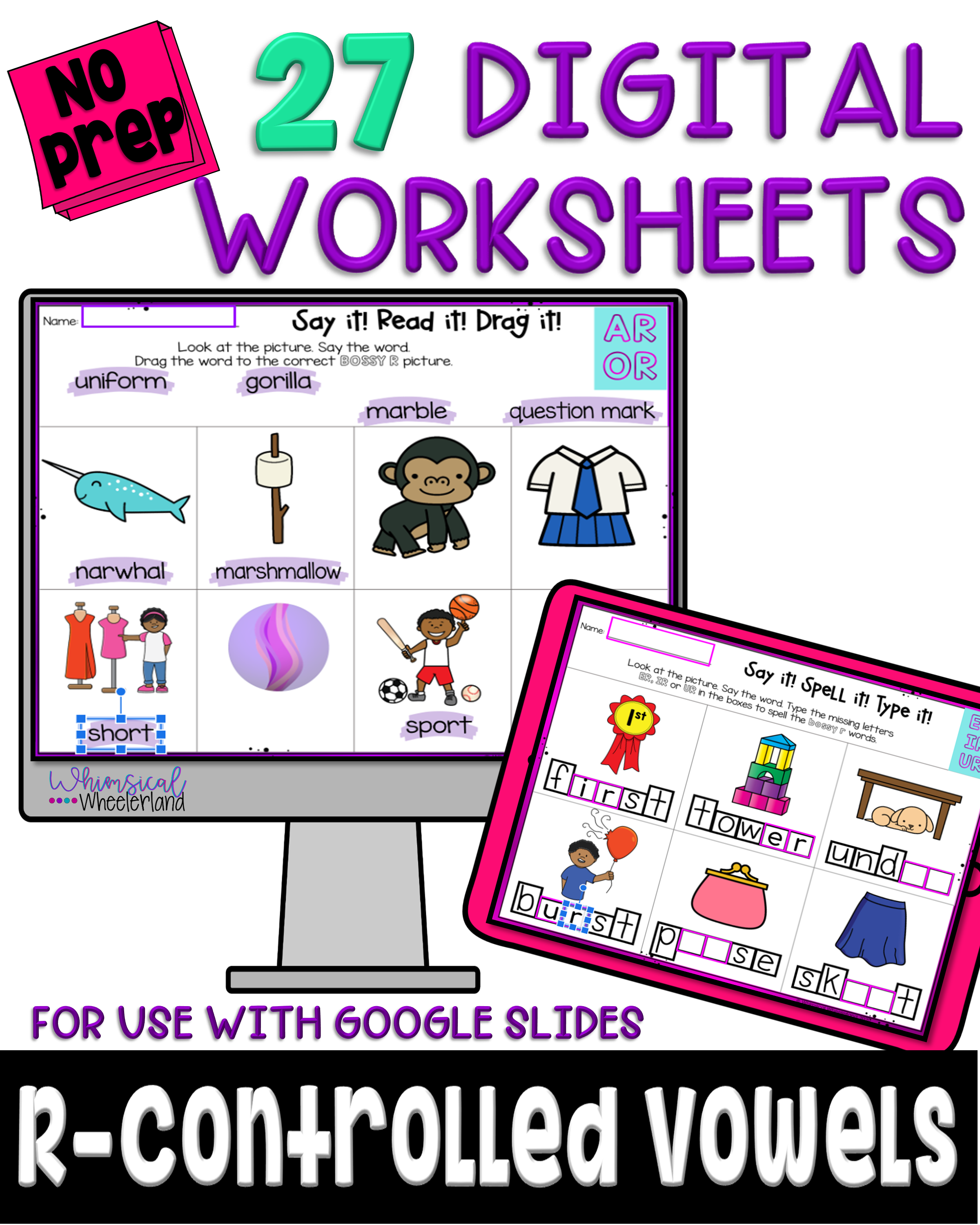 R Controlled Vowel Digital Worksheets In