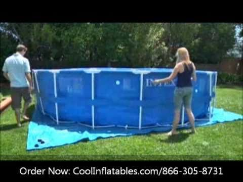 Intex Round Metal Frame Pool Setup Instructions Youtube