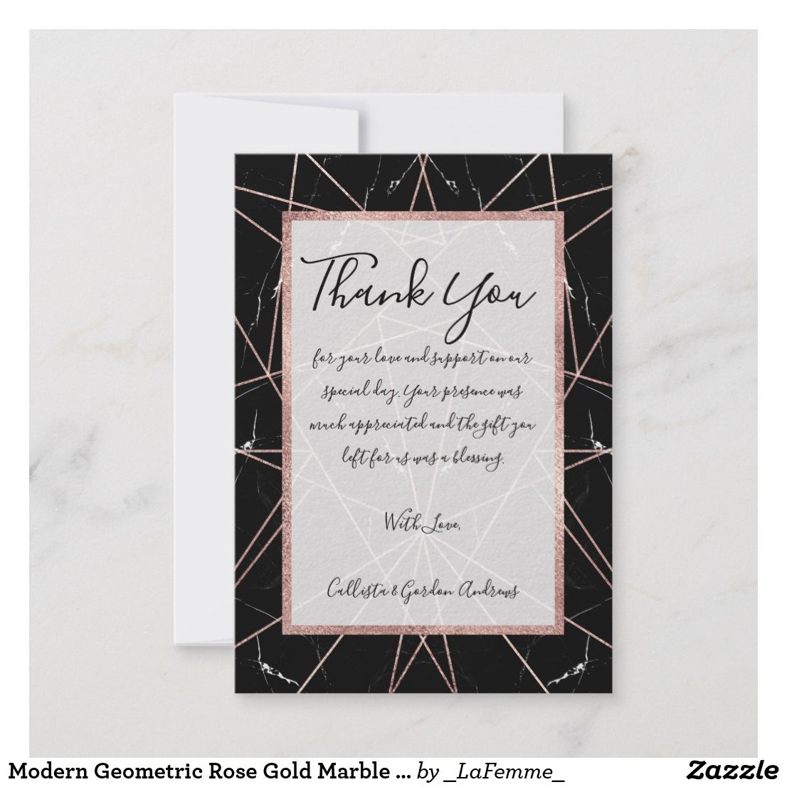 Modern Geometric Rose Gold Marble Triangles Thank You Card Thank