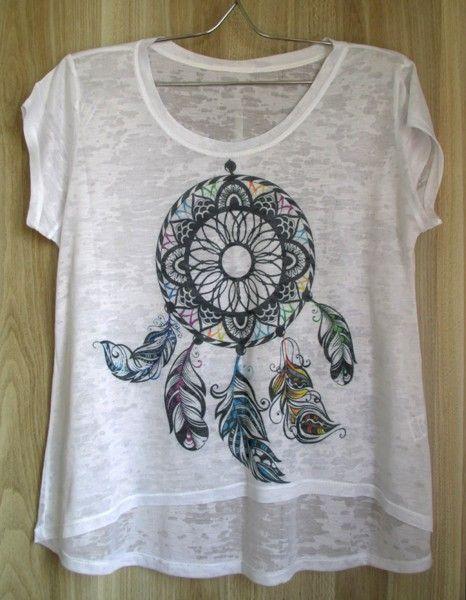 db8aab343a Mullet em Viscose com Filtro de Sonho - Camiseta Feminina em Malha Devorê -  Caçador de Sonhos