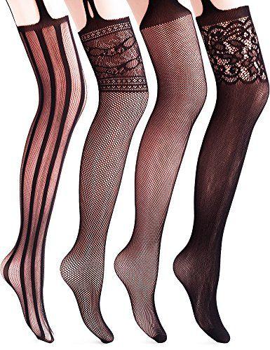 1643b63ffda8c Vero Monte 4 Pairs Women's Suspender Thigh High Fishnet P... https:/