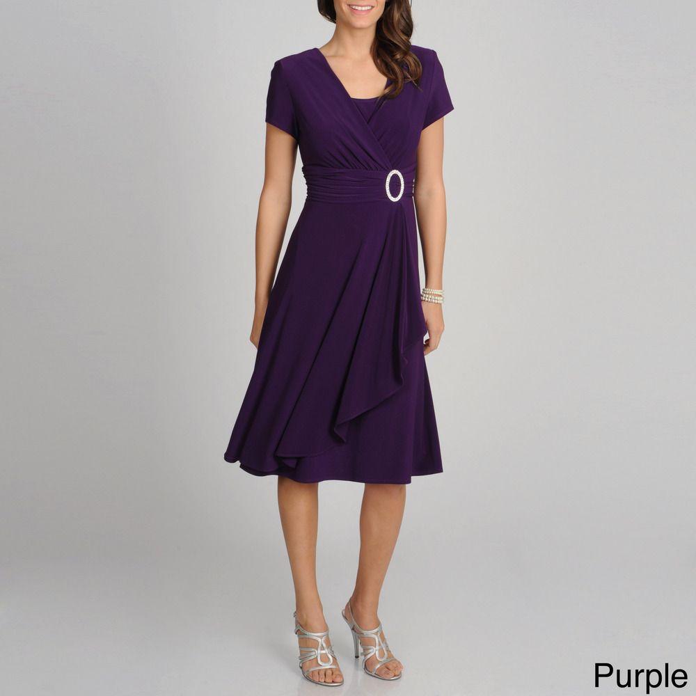 R & M Richards Women's Cascading Ruffle Detail Dress