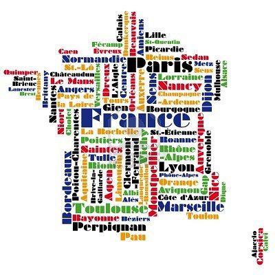 France Word Cloud Les Regions De France Carte De France