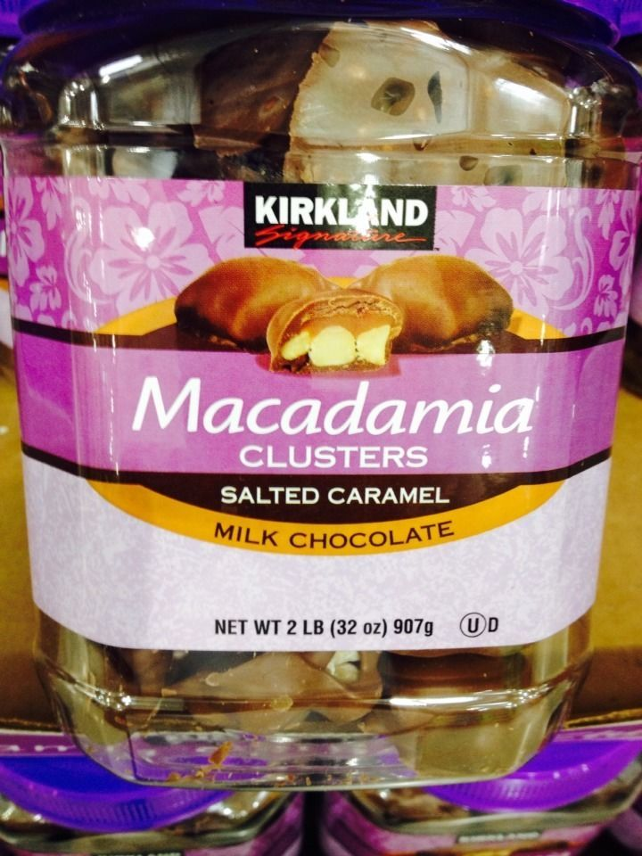 Kirkland Macadamia Clusters Salted Caramel Milk Chocolate Candy 2 LB 32 OZ Find Me At www.secondhanddelights.com