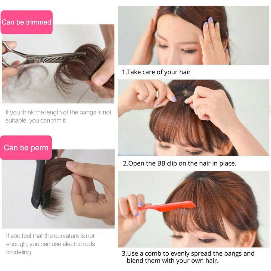 Thin Neat Air Bangs Human Hair Extensions Clip In Fringe Front Hairpiece Women Ad Spon Human Hair Extensions Clip Front Hair Styles Clip In Hair Extensions