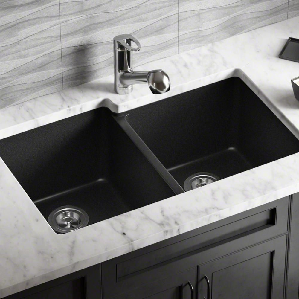 Mr Direct Undermount Granite Composite 32 5 In 0 Hole Double Bowl Kitchen Sink In Black 801 Black In 2020 Double Bowl Kitchen Sink Sink Quartz Sink