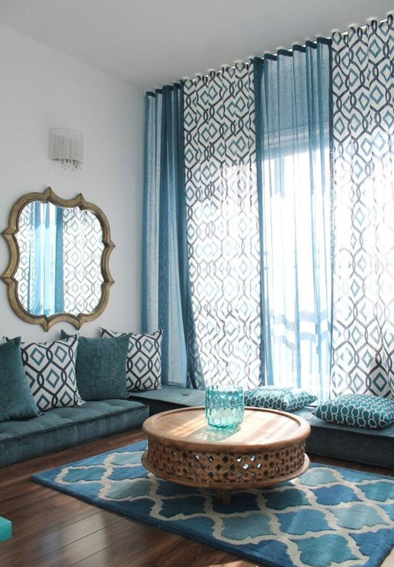 Blue moroccan curtains - Houses