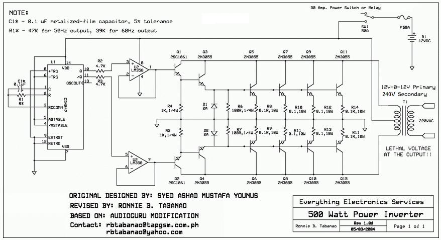 12V to 110V 220V 500W Inverter Projects to try