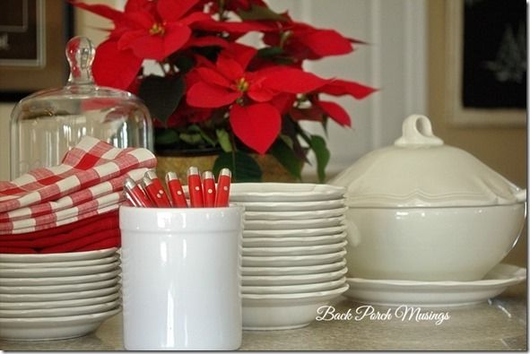 Red and white buffet