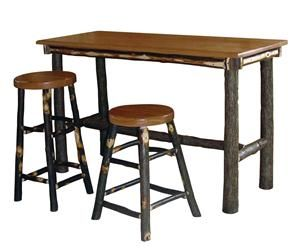 Amish Rustic Hickory Twig Rectangle Pub Table Bar Table