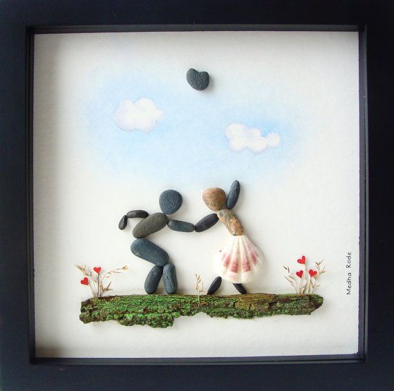 Wedding Art Gifts: Pebble Art Valentine's Day Gift- Unique Engagement Gift