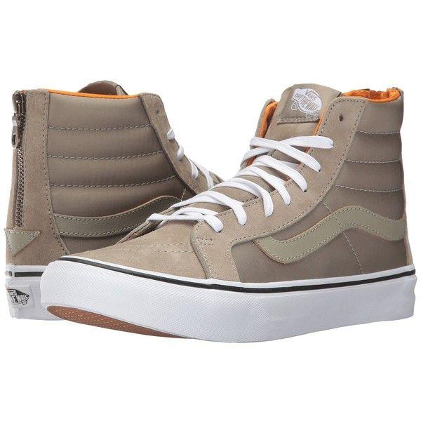 6fe2467ede6 Vans SK8-Hi Slim Zip ((Boom Boom) Silver Sage True White) Skate Shoes (60  JOD) ❤ liked on Polyvore featuring shoes