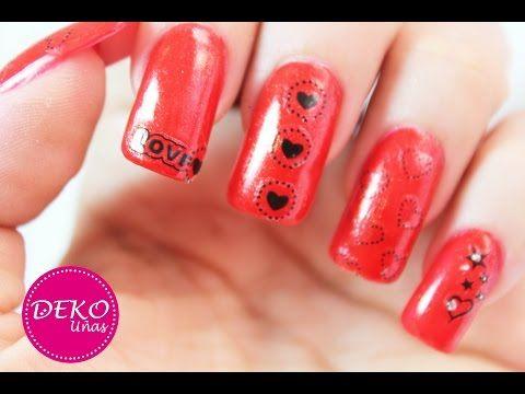 Decoración de uñas FACIL de corazones - San Valentin nails - YouTube