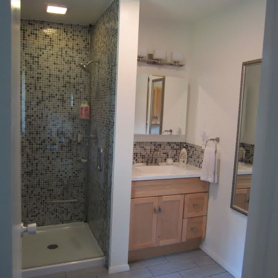 Beautiful Bathroom Renovation Ideas With Mosaic Tile On Shower Stall And  Great Light Wooden Cabinet