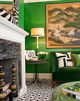 Neat Wildlife Themed Living Room The Green Walls Are A Diffe Way To Tie It Together Instead Of Typical Tans And Cremes