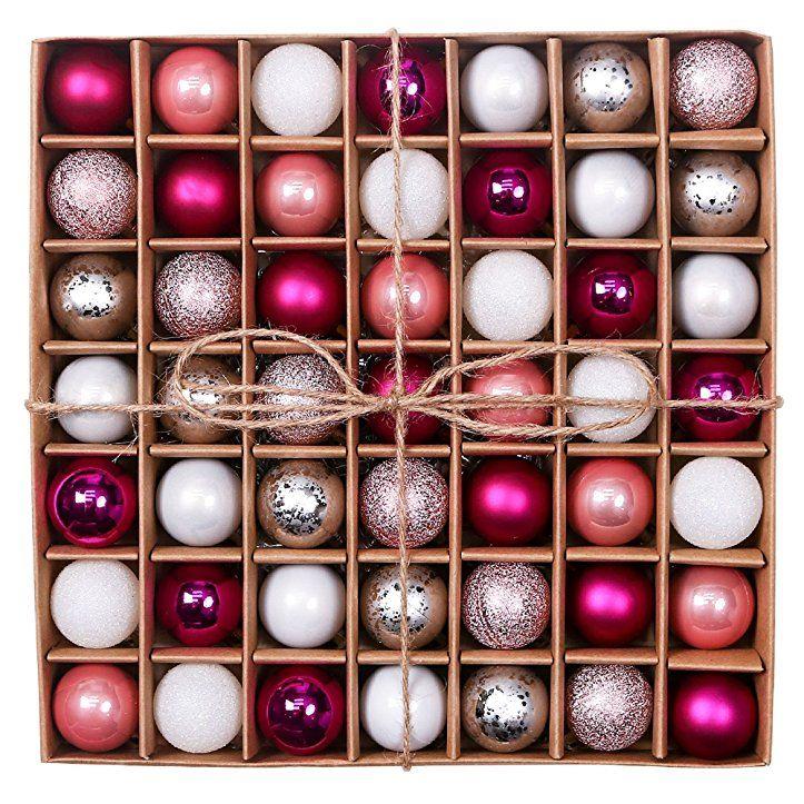 Valery Madelyn 49 Tlg Weihnachten Modische Silberne Rosa Bruchsichere Weihnachtskugeln Dekoration T Weihnachtskugeln Dekoration Weihnachtsbaum Christbaumkugeln