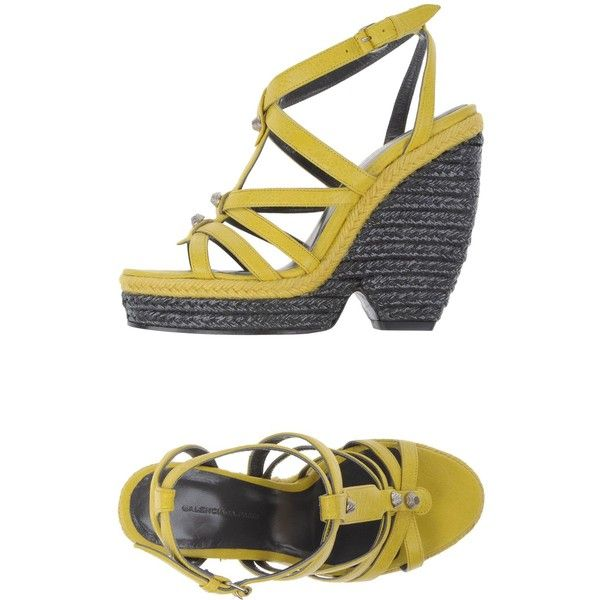 Balenciaga Espadrilles (1.671.810 COP) ❤ liked on Polyvore featuring shoes, sandals, yellow, ankle wrap sandals, yellow sandals, leather sandals, yellow leather shoes and leather espadrille sandals