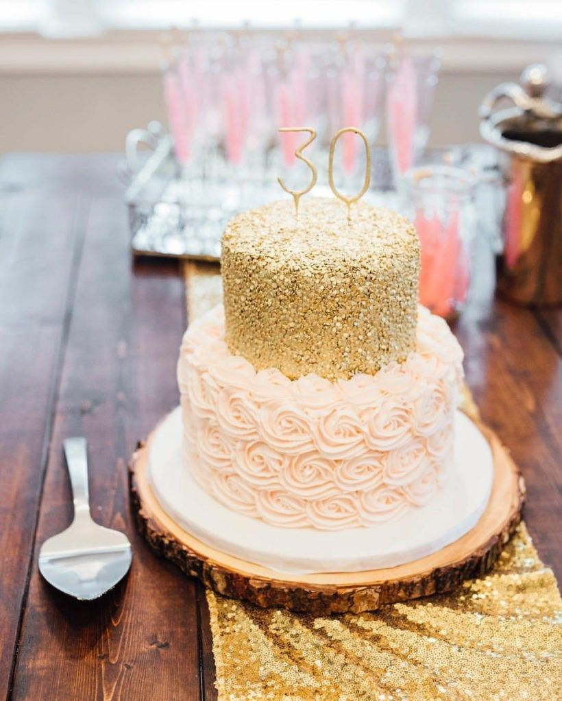 Gold Birthday Cake Nashville Sweets Blush Pink Rosettes Sequin