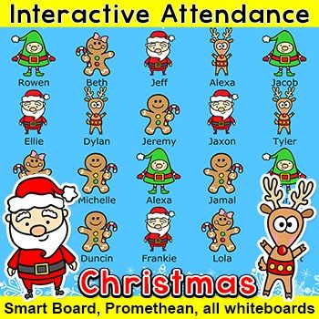 Christmas Activities Interactive Attendance for All Whiteboards - attendance sheet for students