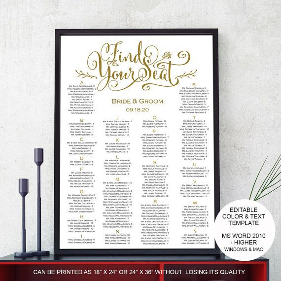 wedding seating chart template poster alphabetical editable