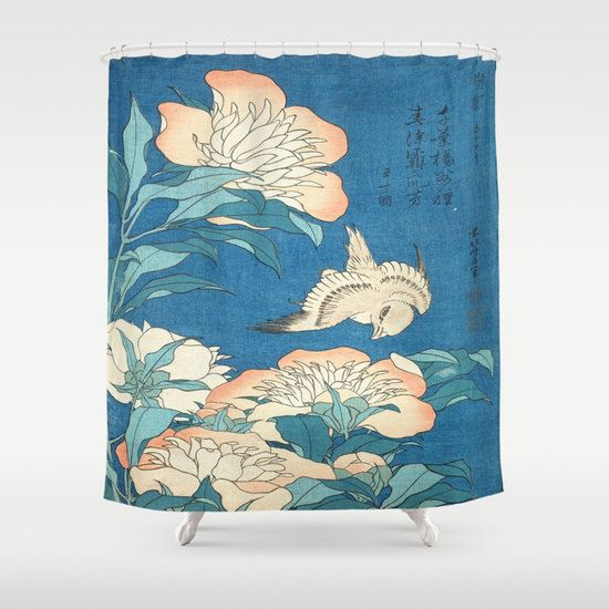 Shower Curtain| Japanese Flowers Shower Curtain| Blue Floral Shower Curtain|  Oriental Shower Curtain