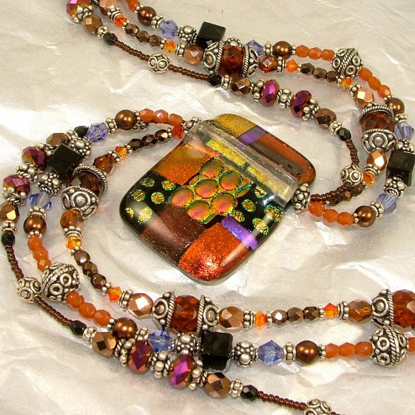 Rich Autumn Carnival 22 Triple Stranded by SylviaSwaseyDesigns   Gorgeous jewelry!
