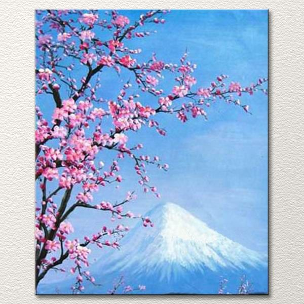 Pink Cherry Blossoms With Mt Fuji In The Background Canvas Art Painting Imagenes De Manualidades Manualidades Pinturas