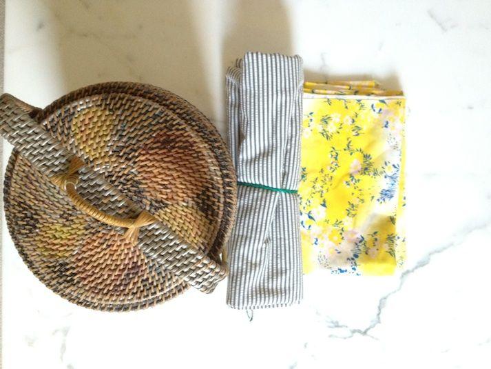 Vintage hand painted woven basket & fabric rajovilla.com