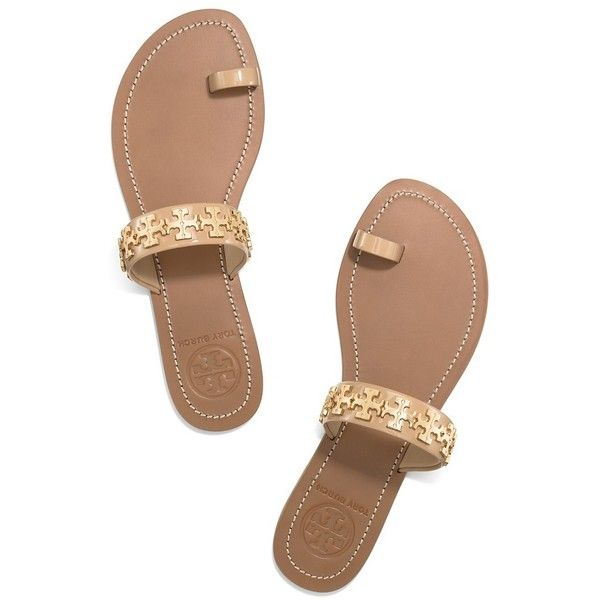 084db968f6c4d2 Tory Burch Val Flat Sandals ( 195) ❤ liked on Polyvore featuring shoes