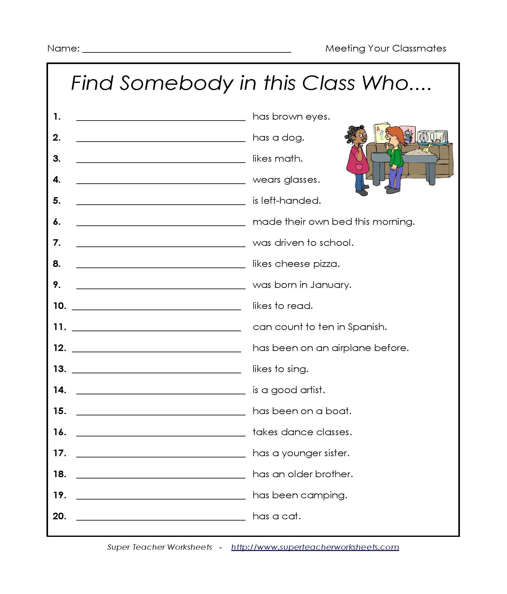 Student Worksheet Get To Know Your Peers First Day Of School