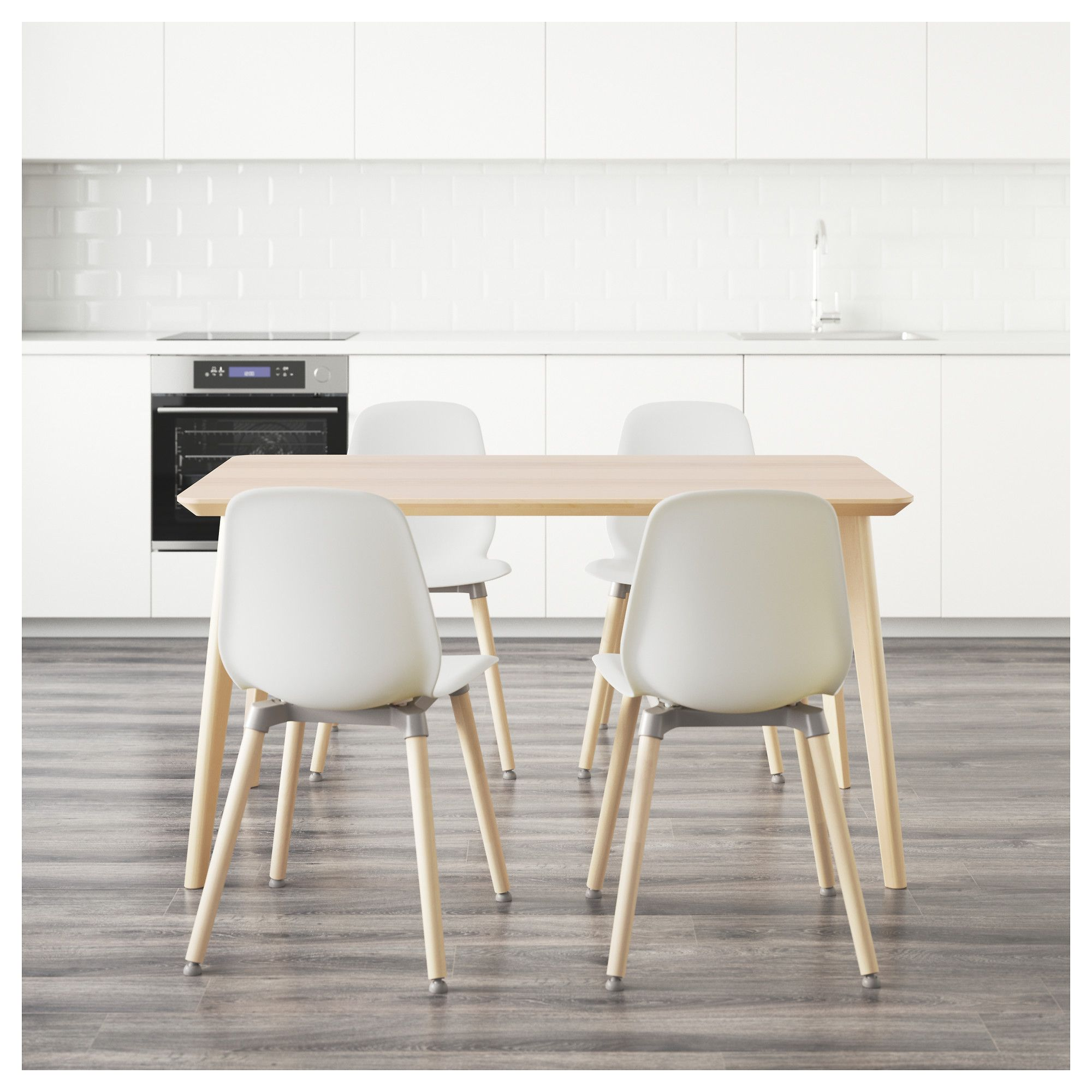 LISABO / LEIFARNE Table and 4 chairs ash veneer, white