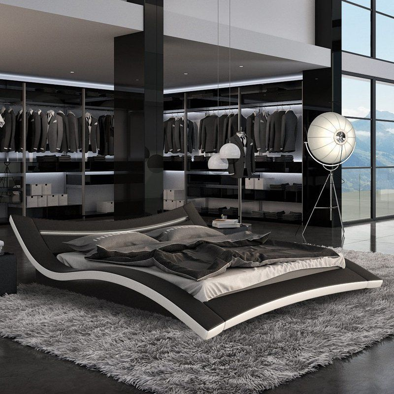 modern platform bed with lights. seducce modern platform bed with led lighting - black add flair to your bedroom lights