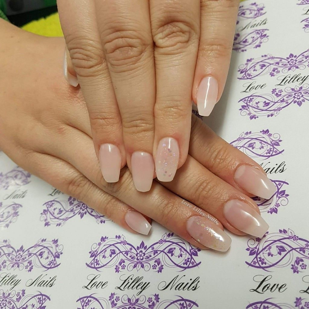 Light Pink Gelish Polygel Nail Extentions With Subtle Ring Finger Crystal Glitter By Magpie Beauty Polygel Polyg Polygel Nails Minimal Nails Gel Nail Designs