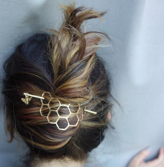 Large Brass Honeycomb Handmade Hair Bun Slide Pin with Dangling Bee Hair Twist Bun Pin -   14 hair Bun clip ideas