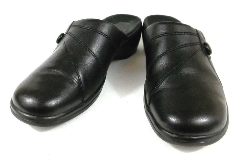 57d3f634a43b89 Clarks Mule Loafers Solid Black Leather Slide On Shoes Womens 7 M  Clarks   Mules
