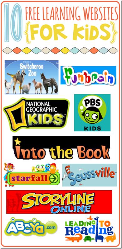 10 free learning websites for kids...perfect for summer break ...